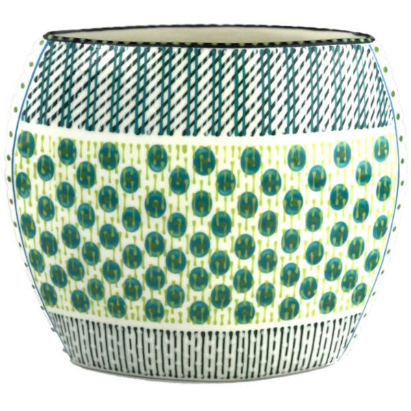 Potterswork Flat Vase - weiß-grün