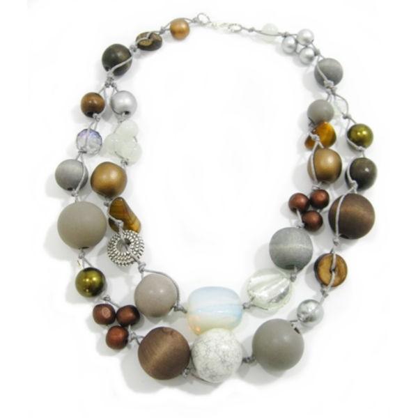 Halskette 2-Strang COGNAC