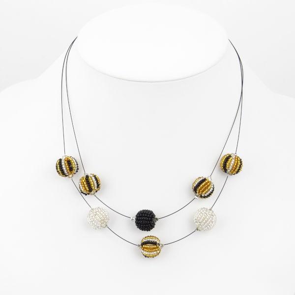 Jabulani Halskette 2 Strang 8 Kugeln (Gold Glitz)