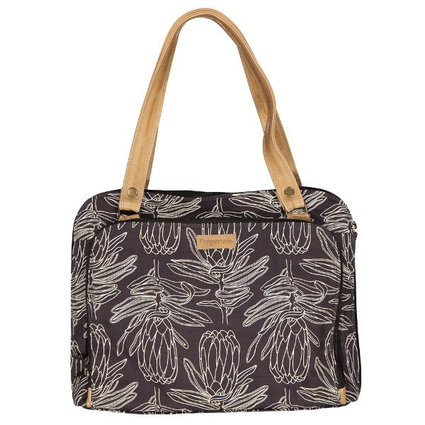 Peppertree Mobile Office Bag LINE PROTEA PARCHMENT ON CHARCOAL