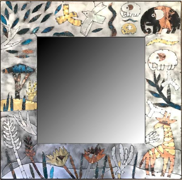 Sue Jowell Spiegel 80x80cm Floral Wildlife