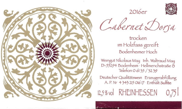 Weinhaus May Cabernet Dorsa 2016