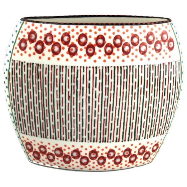 Potterswork Flat Vase - weiß-rot