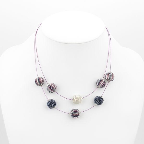 Halskette 2 Strang 8 Kugeln (Mulberry)
